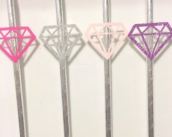 Diamond Straws for Engagement Party - Bridal Shower - Wedding - Bachelorette - 12 per Order