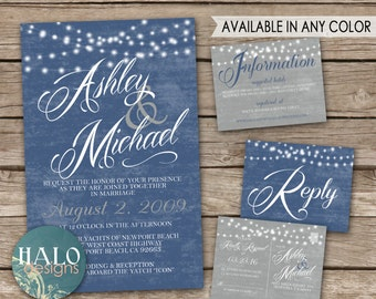 Rustic Beach Wedding Invitations Blue - Invitation, RSVP postcard, Info card, Printable