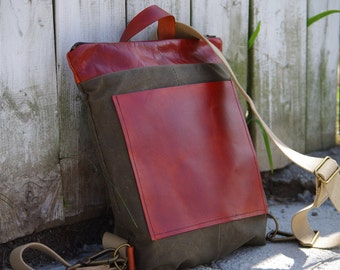 Mika Backpack, Veg Tan Leather, Vegetable Tanned Leather, Waxed Canvas Backpack, Backpack, Unisex