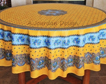 MARAT TRADITION YELLOW Round Acrylic Coated French Country Tablecloth    French Oilcloth Outdoor Tablecloths   French
