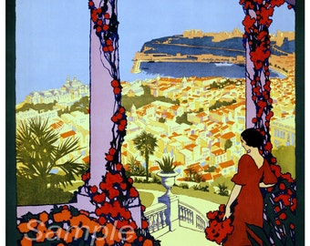 Vintage Monaco Monte Carlo Travel Poster Print