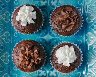 Cupcake  - Cupcake Photography - Food Art Decor - Kitchen Decor - Blue - White - Brown - Six - Pattern - Geometric