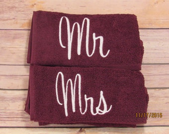 Ready to Ship Mr & Mrs Towels, His and hers towels, Gifts for couples,couples gifts,embroidery towels,Mr towels,Mrs towels,gifts for her