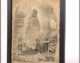 Death, the poor man's friend. Aged reproduction print in frame.