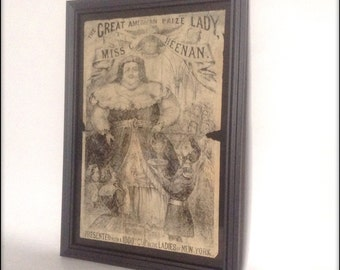 Reproduction aged Victorian sideshow poster depicting The Great American Prize Lady.