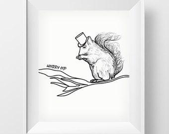 SALE 50% Sloth Wall Art, Printable Kids Gift, Hurry up, Wall Art Printable, Nursery Art, Poster, Nursery Prints, Scandinavian printable art