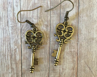 Antique gold key earrings - large