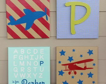 Personalized Aviation /Plane themed Nursery Canvas Prints