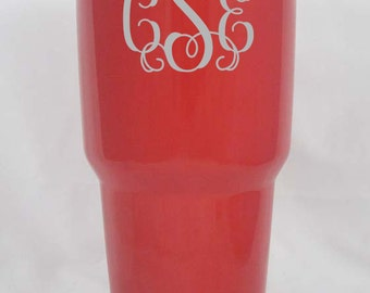 30 oz Red YETI rambler tumbler cup powder coated and engraved customized personalized