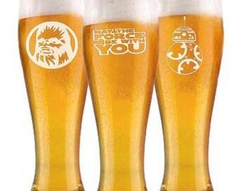 Star Wars Chewbacca BB8 pilsner beer Glasses groomsman wedding gift engraved