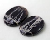 Bertrandite Utah Tiffany stone cabochon matching pair / Oval 18x25x3mm / Midnight purple dramatic goth white patterns / Earrings (cab73)