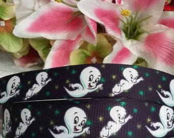 "3 yards, 7/8"" Casper the friendly ghost design grosgrain ribbon"