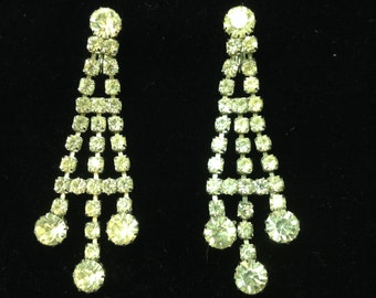 Vintage 1950's Sarah Coventry Rhinestone Chandelier Clip On Earrings