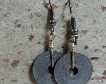 Coin Earrings with sterling silver hooks