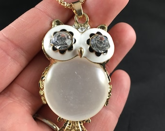 Owl Pendant With Rhinestones and Opal Body
