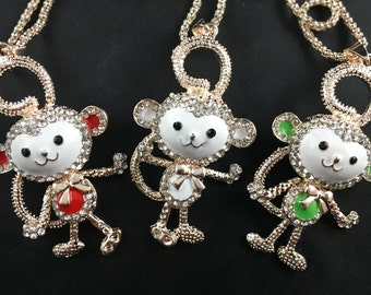 Adorable Enamel and Rhinestone Monkey Pendant on Gold Tone