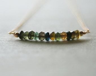 Tourmaline Necklace | Bar Necklace | Gold Necklace | Petite Necklace