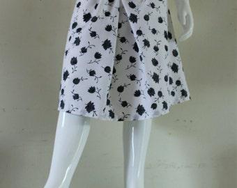 Skirt wide child white cotton voile, skirt girl size adjustable elasticated