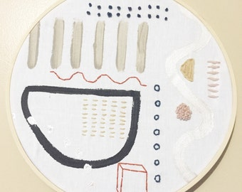 Abstract embroidery wall hanging