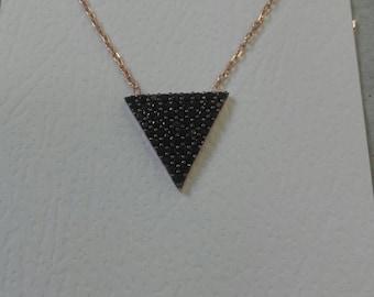 Black Pyramid Silver Necklace