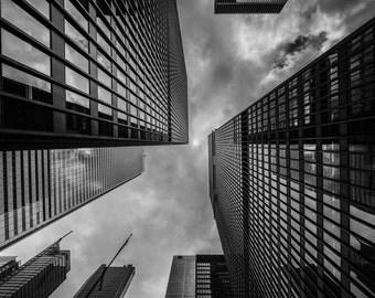 Buildings Digital Photo - Sky - Urban Photo - City Photography - City - Black and White - Digital Photo - Digital Download - Office Wall Art