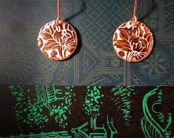 Flower of the East copper enamelled