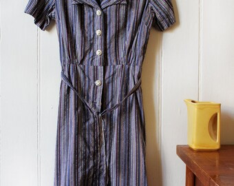 Vintage 1970's Striped dress featuring unique buttons - Small