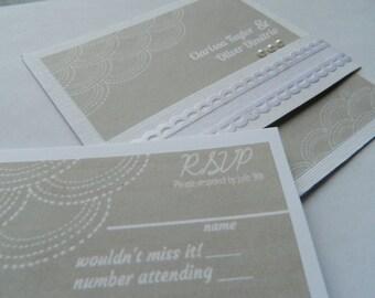 Handmade Ivory wedding invitation