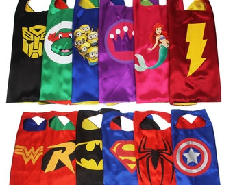 Party Pack 5,6,7,8,9 Capes - Childrens Superhero Capes Party Favors Kids Bulk Wholesale Cheap, Superhero birthday party, 40 Superhero Styles