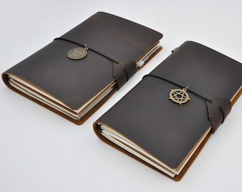 Dark Brown Midori Style Traveler's Notebook, Refillable Leather Notebook Journal - PJ002