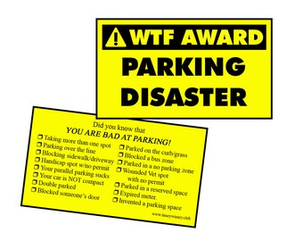WTF AWARD....Bad Parking double sided card