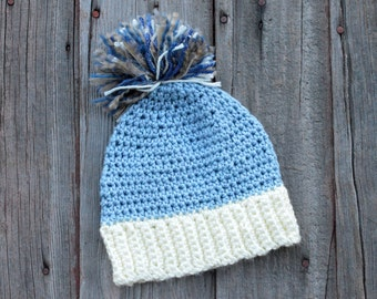 Crochet boys winter hat, crochet periwinkle pom pom hat
