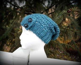 Teal Slouch Hat with Buttons Crochet