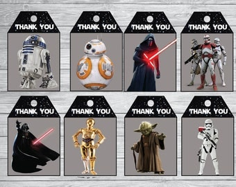 Instant DL Star Wars thank you Tags- The force awakens, Star Wars Gift Tags, Printable Tags