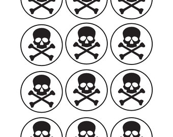 Edible Skull and Crossbones Cupcake Toppers