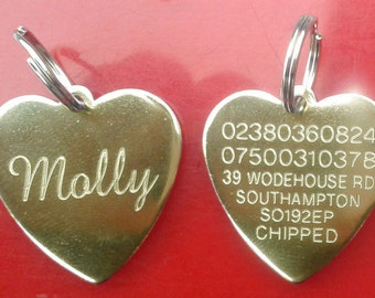 Engraved Pet Tags ID Disc Tag Cat Dog Metal Brass Heart + Split Ring