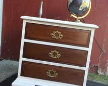 MidCentury Modern Nightstand With Gold Hardware