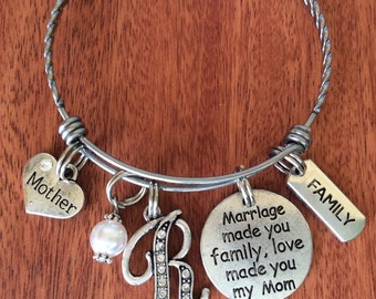 STEPMOM Gift, Stepmom Bracelet, Stepmom Birthday, Marriage Made You Family Love Made You My Mom, Stepmother Jewelry, Stepmom Jewelry, Mother