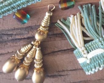 Gold beaded tassels, jewelry making supplies, metal beads, bulk jewelry supplies, wholesale craft supplies, beaded tiebacks, metal tie backs