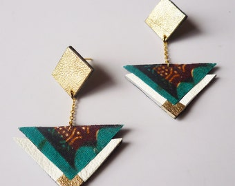 Triangle Square earrings made with brown greenafrican prints fabric and white golden recycled leather - colorful stud earrings with chain