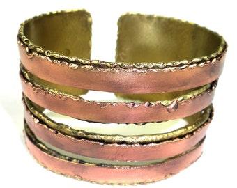 Brass and Copper Organic Cuff