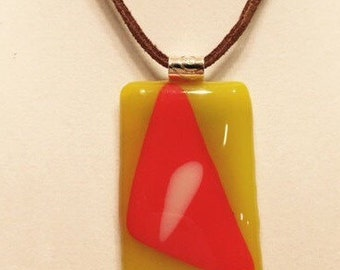 """Fused glass """"candy corn"""" pendant with matching studs"""