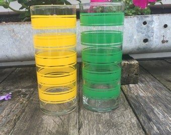 Yellow and Green Stripe Libbey Glass Tumblers - Set of 2 - Vintage Retro Kitsch