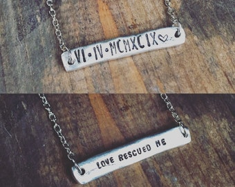 Roman Numeral Necklace - Salvation Necklace, Anniversay or Personalized Date Necklace