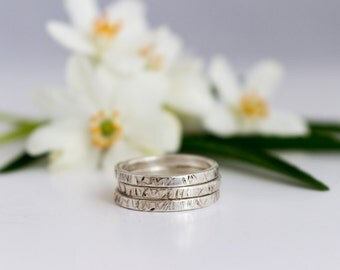 Silver Textured set of 3 stacking rings