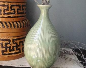 Green striped glazed vase
