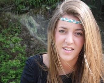 Blue-beige-gray braided suede headband