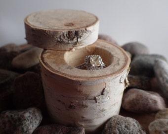 Rustic White Birch Wood Ring Box