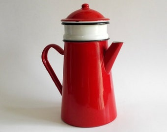 Enamelware, coffee Pot, French vintage, shabby chic, decor cottage, farmhouse, red pot, shabby french decor, coffee, jar, kitchen decor, red