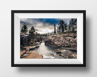 Water Photography, Storforsen Rapids, Sweden, Landscape Photography, Tree photograph, kayak gift, autumn photograph, landscape photograph